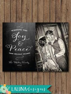 Christmas Card, Chalkboard Photo Christmas Card, Joy & Peace, Holiday Card, DIY Printable Christmas Card
