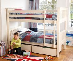 Anchorage Bunk Bed – £296.98  Here's a modern design bunk bed from Furniture 123 which is made from pine and mdf with solid wooden mattress slats and comes complete with a pair of coordinating under-bed drawers.