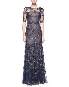 Notte by Marchesa Elbow-Sleeve Tiered Flower Appliqué Gown (for Lola or Kenna)