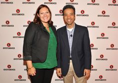#AWXII - Advertising Week: Director of Media and Digital at RB Andrea Bernhardt and  SVP of Advertising Products at Yahoo Prashant Fuloria  pose at the The Marketer's Dilemma - Premium Publisher or Programmatic Platform? panel