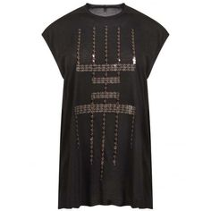 Rick Owens Sequin Embroidered Sleeveless Top Black ($398) ❤ liked on Polyvore featuring tops, sleeveless tops, rick owens top, sequin embellished top, sequin tank top and sequin tanks