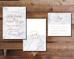 Printable Wedding Invitation Set | Wedding Invitation + RSVP | Marble, copper, gray, modern, classic, calligraphy, geometric | Marble