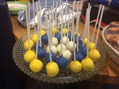 Graduation cake pops in blue and gold. Graduation Cake Pops, Lumberjacks, Graduation Celebration, Christening, Gold, Blue, Yellow