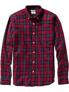 Men's Slim-Fit Button-Front Plaid Shirts   Old Navy