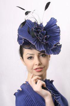 Royal Blue fascinator blue derbyv headpiece by IrinaSardarevaHats