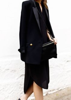 Black Blazer with Silk Collar and black dress km