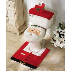 Questionable taste! Santa Toilet Seat Cover and Rug Set