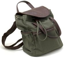 Olive Green Canvas Backpack with Double Leather Look Handles (16 x 6 x 12)