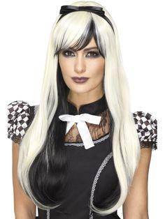Musta-valkea peruukki deluxe. Deluxe tasoinen peruukki kestää lämpökäsittelyä, sen voi pestä ja muotoilla haluammallaan tavalla yhä uudelleen.