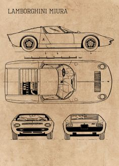 Classic Cars Blueprint Blueprints poster prints by Ihab Design Lamborghini Miura, Blueprint Art, Automobile, Best Muscle Cars, Car Gadgets, Best Classic Cars, Car Posters, Futuristic Cars, Aircraft Design