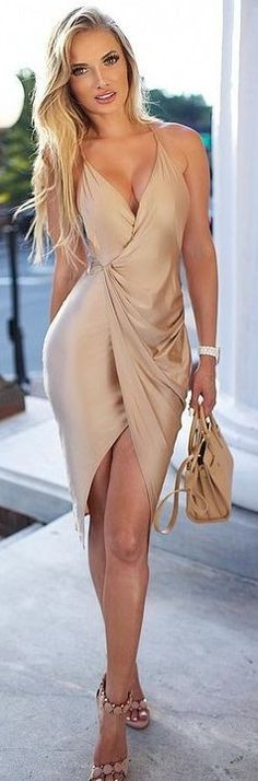 Gold Silk Wrap Dress                                                                             Source