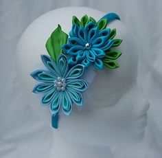 Kanzashi headband for little girls  blue by RoshelysBowtique, $10.00