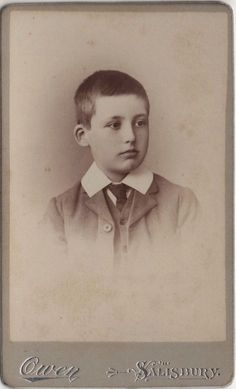 CDV photo of a victorian boy taken in Salisbury around 1880s by the Owen studio located at 29 Catherine Street.