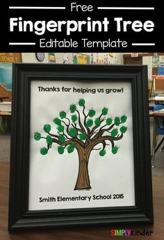 Free Fingerprint Tree template that you can edit! Great for volunteer gifts or for student teachers! Free from #SimplyKinder
