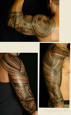 Samoan tribal tattoo designs - 3 different tattoo using red & black ink