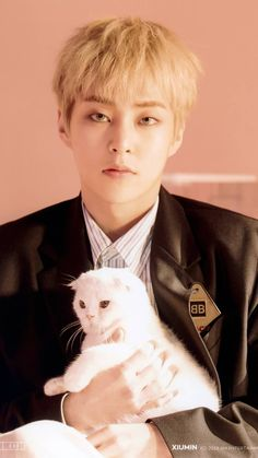 Dude is that a cat holding a cat Exo Xiumin, Kim Minseok Exo, Exo Ot12, Kpop Exo, Chanbaek, K Pop, Tao, Exo Official, Ko Ko Bop