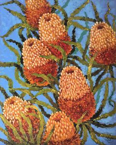 Banksia original oil painting on canvas, Australian native plant art, green painting, handmade wall art, large oil painting, gift idea by IrinaRedineArt on Etsy