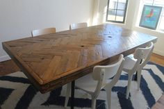 Herringbone Dining Table  Made to Order by theWobblyKnob on Etsy