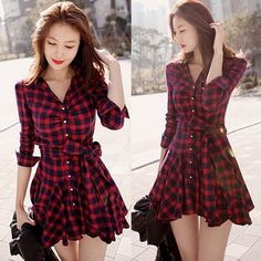Cheap Dresses, Buy Directly from China Suppliers: Women Retro Long Sleeve Dress Red Plaid Lapel V Neck Shirt Dress Belted Dress Brand New and High Q Sexy Dresses, Casual Dresses, Short Dresses, Cheap Dresses, Mini Dresses, Plaid Dress, Belted Dress, Dress Red, Dress Shirts For Women