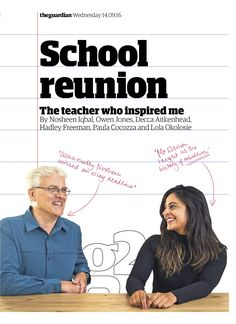 Guardian g2 cover: The teacher who inspired me #editorialdesign #newspaperdesign #graphicdesign #design #theguardian