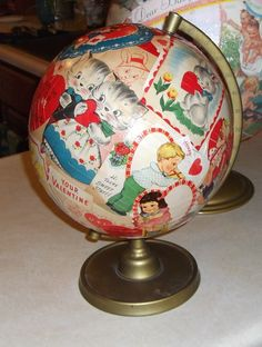 globe découpaged with vintage Valentines  I'd like to do this with Christmas cards.