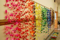 Origami for art club. I would love to install this in our halls. Art Club Projects, School Art Projects, Group Projects, Collaborative Art Projects For Kids, High School Art, Middle School Art, Origami Art, Basic Origami, Origami Cranes