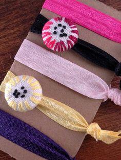 Set of 5 elastic ponytail holders / hair by TwiceUponATimeDesign