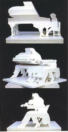 """Ilusionario: Shigeo Fukuda  Otra de sus famosas esculturas es """"Duets"""", donde…"""