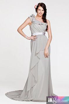 Silver Column One-shoulder Chiffon Long Evening / Bridesmaid Dress - Bridesmaid Dresses - Wedding Party Dresses - Wedding & Events
