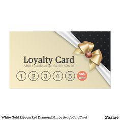 White Gold Ribbon Red Diamond Makeup Salon Loyalty Business Card