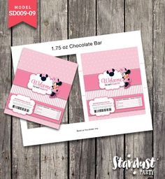 CHOCOLATE BAR WRAPPERS Minnie Mouse Printable Kids Party Creative Model SD009-09