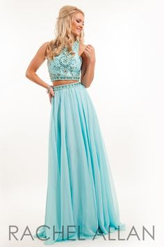 7220 - Two-piece chiffon gown with beaded slight racer back cut top