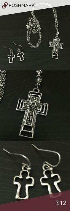 """Cross Necklace Set w/ Hematite Druze Style Accent Comes w/ Earrings. 18""""+extender.    #JEWELRY #POSHMARK #BLING #RODEO #FASHIONISTA #COWGIRL #SOUTHWEST #ARIAT #AZTEC #WESTERN #CHIC #FAITH #RUNWAY #CROSS #TRIBAL #BOHO #KENDRA #NAVAJO #STELLA  #SOUTHERN #SPARKLE #CHIC 💞💞 Jewelry Necklaces"""