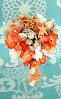 Sea Shell Bridal Bouquet Wedding Bouquet Bridal Brooch Bouquet Fabric Bouqet Rhinestone Bouquet Wedding Accessories Vintage Brooch Bouquet. $175.00, via Etsy.