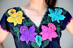Vibrant Mexican Embroidered Blouse / Huipil / Tunic by Vtgantiques, $54.99