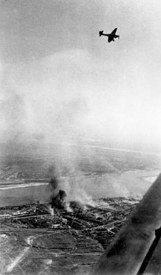 German Ju 87 'Stuka' dive bomber over Stalingrad. In every campaign it had always provided close support for troops on the ground – here the positions between the two sides were always very close and it became very difficult to use it without the risk of hitting German positions.1943
