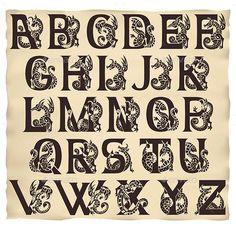 Medieval Alphabet with Gargoyls