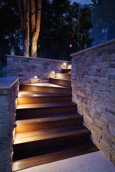 Exterior pathway lighting on wood Stair Lighting, Pathway Lighting, Exterior Lighting, Lighting Ideas, Landscape Lighting Design, Outdoor Lighting Landscape, Garden Steps, Patio Design, Pathways