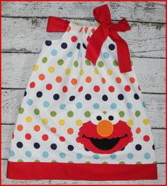 Rainbow Polka dot Sesame Street Elmo Pillowcase style dress by LittlehootboutiqueCo on Etsy https://www.etsy.com/listing/384669890/rainbow-polka-dot-sesame-street-elmo