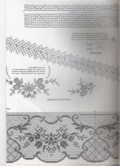 View album on Yandex. Filet Crochet Charts, Crochet Borders, Crochet Stitches Patterns, Crochet Designs, Stitch Patterns, Crochet Doilies, Crochet Lace, Fillet Crochet, Different Stitches