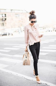 Blush Blouse, Black Jeans, Blush Pmps, Bag, Black Sunglasses The ShopStyle Guide on What to Wear to Work For Warmer Weather Work Fashion, Trendy Fashion, Womens Fashion, Fashion 2016, Trendy Style, Professional Outfits, Professional Women, Casual Outfits, Cute Outfits