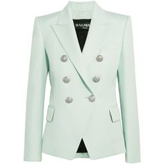 BalmainDouble-breasted Wool-twill Blazer ($1,163) ❤ liked on Polyvore featuring outerwear, jackets, blazers, balmain, sky blue, green wool jacket, wool jacket, green jacket and double breasted wool jacket