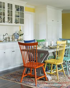 Design by Laura Bartell | Photography by Rett Peek | At Home in Arkansas Magazine | http://www.athomearkansas.com/article/primary-palette #kitchens #colors #contemporary #farmhouse