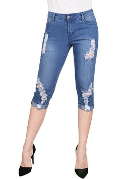 Women's Stretchy 5 Pocket Skinny Capri Jeans - Now Fashion Shop All Fashion, Womens Fashion, Stylish Jeans, Capri Jeans, Beautiful Dresses, Skinny, Clothes For Women, My Style, Sexy Gifts