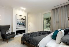 This is penthouse living: Six weeks in, Kim and Chris have finally won a Room Reveal with a master bedroom the size of some apartments. Shop Kim & Chris' style below. The Block 2016, Home Bedroom, Master Bedrooms, Bedroom Ideas, Bedroom Styles, Master Suite, Interior Styling, Decorating Your Home, Beautiful Homes