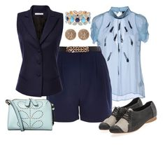 I'm As Blue As I Can Be by shelger21 on Polyvore featuring Gianfranco Ferré, Bouchra Jarrar, River Island, Orla Kiely, House of Harlow 1960 and Coldwater Creek