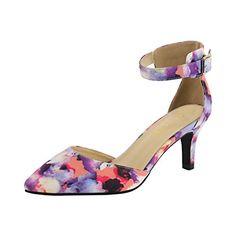 da393b91f Eunicer Women s Ankle Strap Low Heel Stiletto Dress Pump ... https