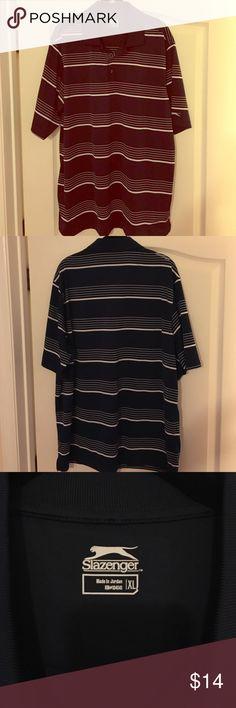 Men's SS golf shirt Slazenger men's SS 100% polyester shirt (dark blue/off wht) Shirts Polos