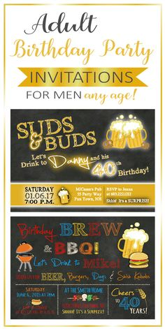 Men's beer birthday party invitations.   Choose from a variety of designs.   Can be made for any age, 40th birthday invitation, 50th birthday invitation