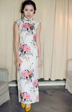 Retro Sleeveless Linen Long Chinese Dress /Size by RockRollRefresh.com